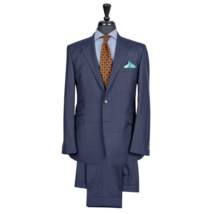 SSM7 – NAVY SINGLE BREASTED TWO-PIECE SUIT – LIGHTWEIGHT 240 G/M² 100% VITALE BARBERIS CANONICO WOOL