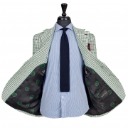 SSM8 – PATTERNED CHECK SINGLE BREASTED JACKET – HEAVYWEIGHT 420 G/M² 100% DUGDALE BROS CROMMELIN LINEN