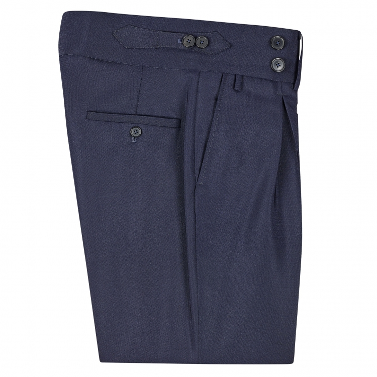 Edit: SSM9 – DARK NAVY HIGH-WAIST BAND TROUSERS WITH INVERTED PLEATS – LIGHTWEIGHT 290 G/M², 56% KAROO'S MOHAIR / 44% WOOL LORO