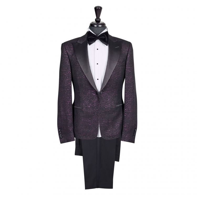 SSM Esq. / 007 Mk2 – PURPLE CROCODILE SKIN (SATIN PEAK LAPEL) TUXEDO SUIT