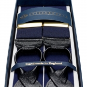 BARATHEA BRACES NAVY / BLACK LEATHER