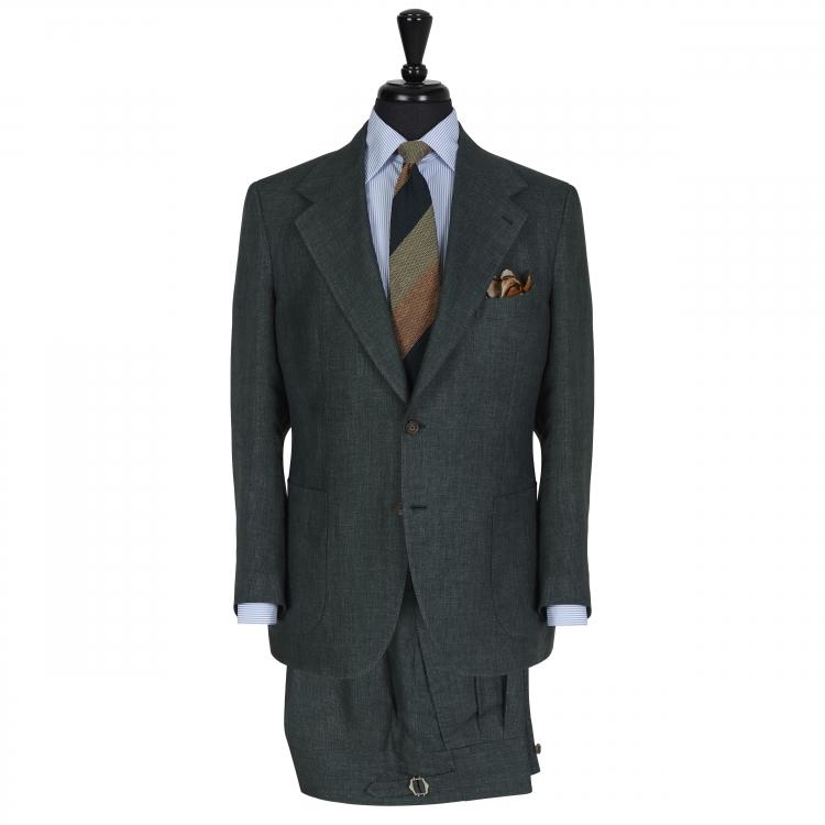 SSM10 - Costume droit 2 pièces vert foncé - 100% lin Solbiati (Nobel) 260-270g/m
