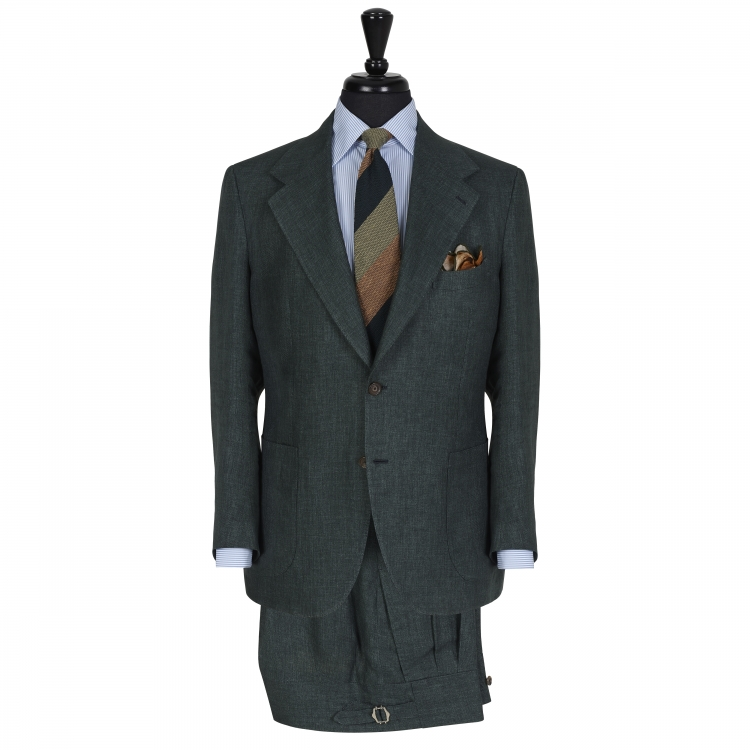 SSM10 – DARK GREEN SINGLE BREASTED 2 PIECE SUIT – LIGHTWEIGHT 260 – 270 GR/MT 100% SOLBIATI (NOBEL) LINEN