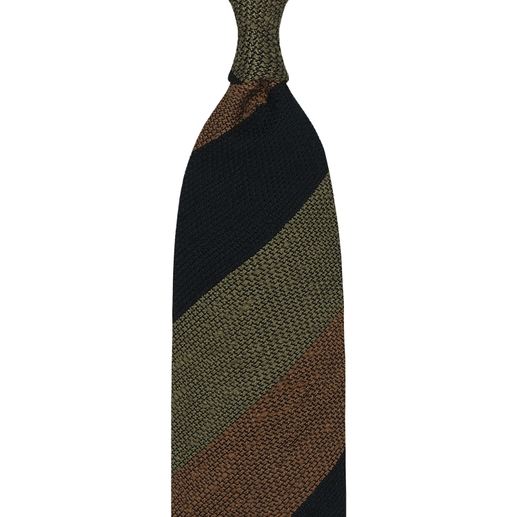 Edit: BLOCK STRIPE SHANTUNG GRENADINE TIE – FOREST GREEN / BEIGE / RUST
