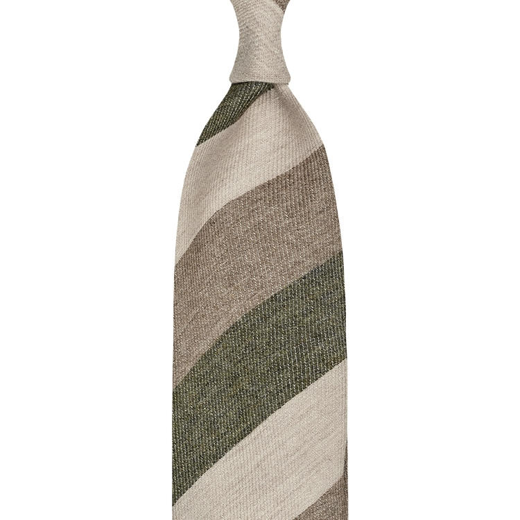 BLOCK STRIPE CASHMERE TIE – CREAM / CAPPUCINO /CROCODILE GREEN