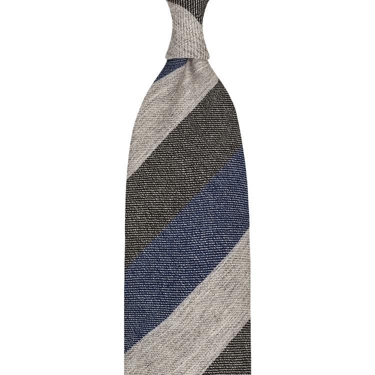 BLOCK STRIPE CASHMERE TIE – BEIGE / DENIM BLUE / BROWN