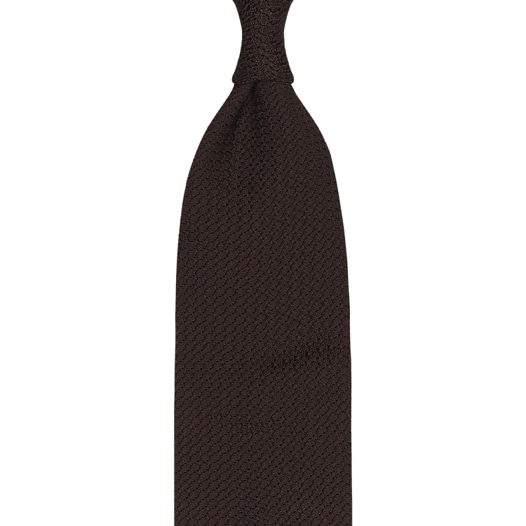 BROWN GARZA GROSSA GRENADINE HANDROLLED TIE