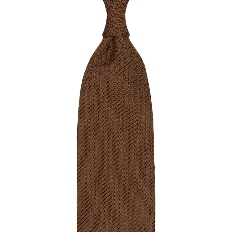 LIGHT BROWN GARZA GROSSA GRENADINE HANDROLLED TIE