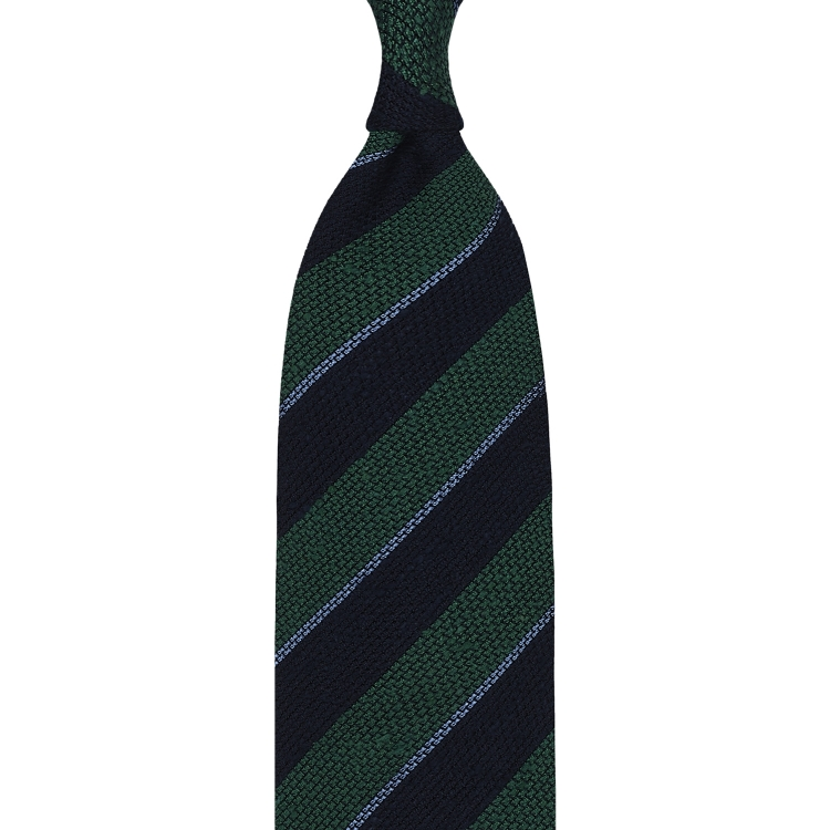 Mix Striped Grenadine Shantung Handrolled Tie - Navy / Green / Sky Blue