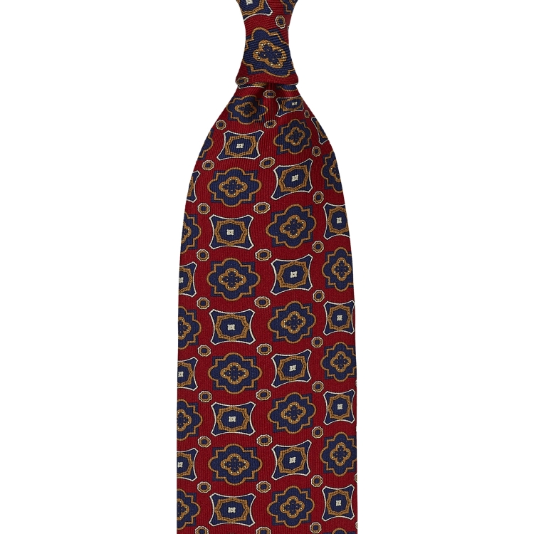RED FLORAL PRINT TWILL SILK TIE