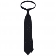 cravate à pois en grenadine de soie bleu marine / jaune