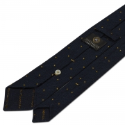 CLASSIC POLKA DOT SILK GRENADINE SHANTUNG TIE – NAVY/YELLOW