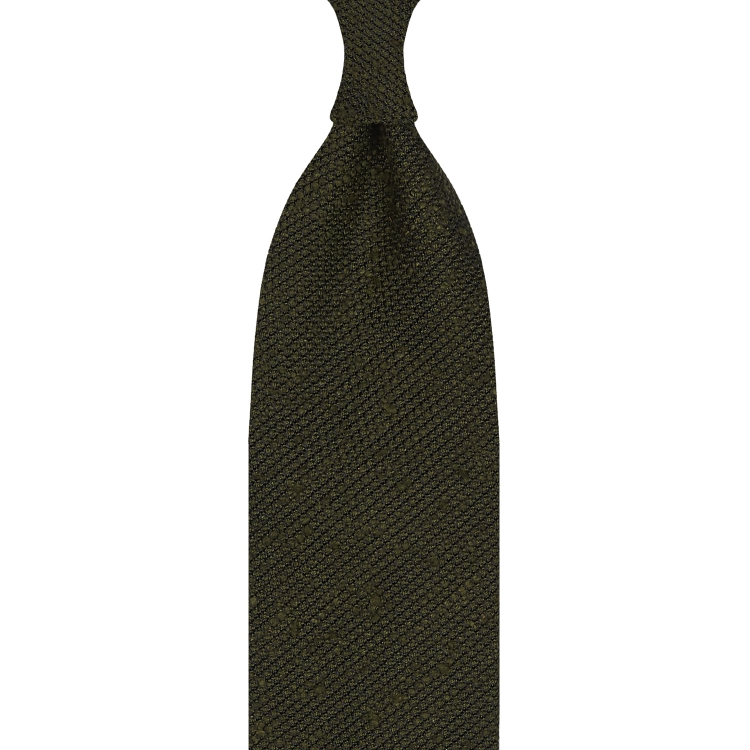CLASSIC SILK SHANTUNG GRENADINE – 3 FOLD UNTIPPED HANDROLLED TIE – ARMY GREEN