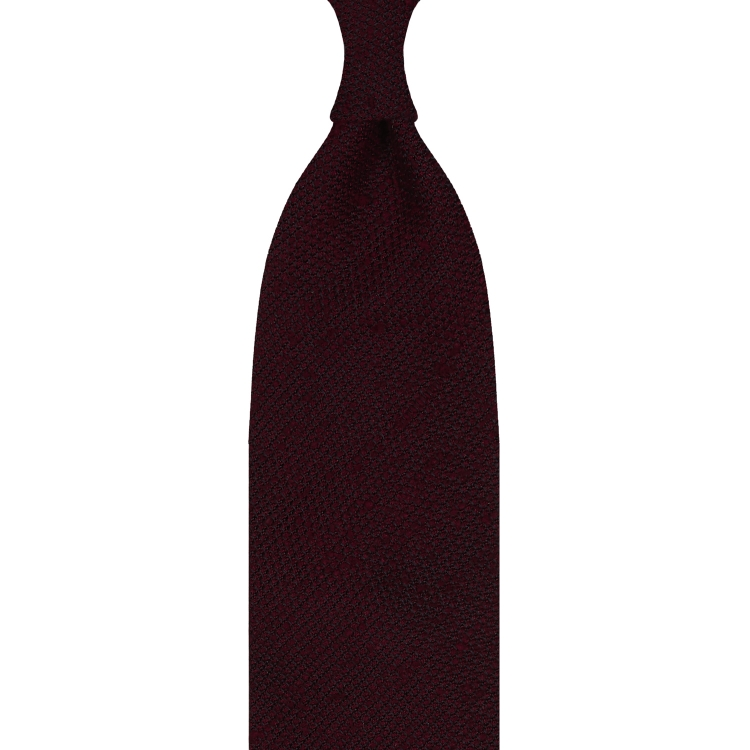 CLASSIC SILK SHANTUNG GRENADINE – 3 FOLD UNTIPPED HANDROLLED TIE – BURGUNDY