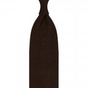 CLASSIC SILK SHANTUNG GRENADINE – 3 FOLD UNTIPPED HANDROLLED TIE – BROWN