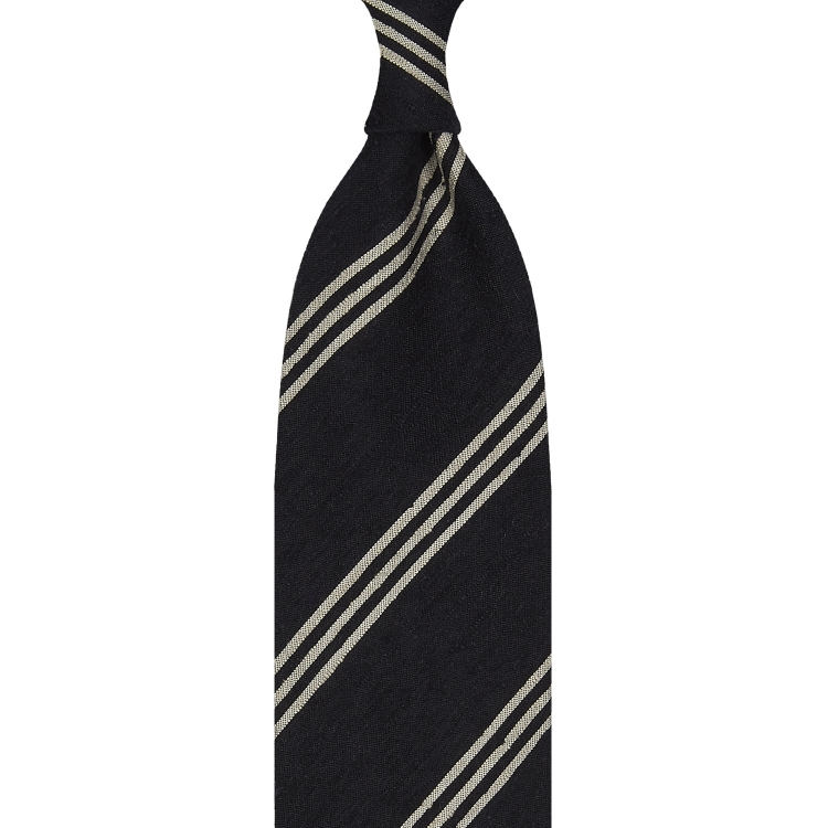 TRIPLE STRIPE SHANTUNG GRENADINE HANDROLLED TIE – NAVY / BEIGE STRIPE