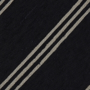 TRIPLE STRIPE SHANTUNG GRENADINE HANDROLLED TIE – NAVY / BEIGE STRIPE
