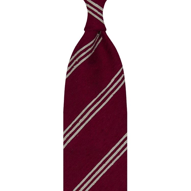 Cravate rayée en shantung de soie rouge et beige, roulée à la main