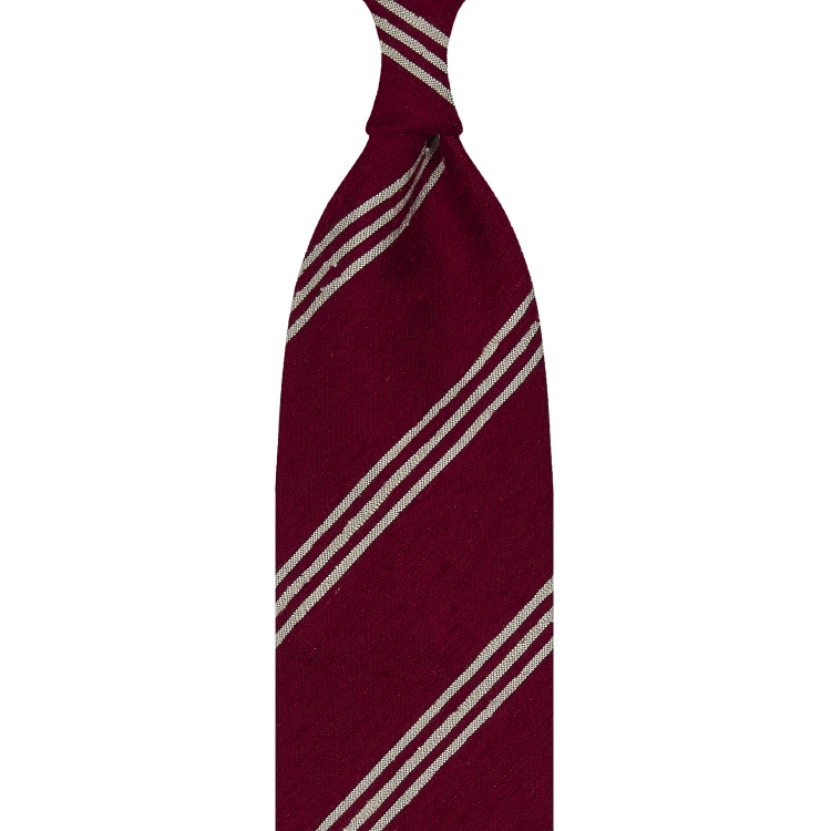 TRIPLE STRIPE SHANTUNG GRENADINE HANDROLLED TIE – RED / BEIGE STRIPE