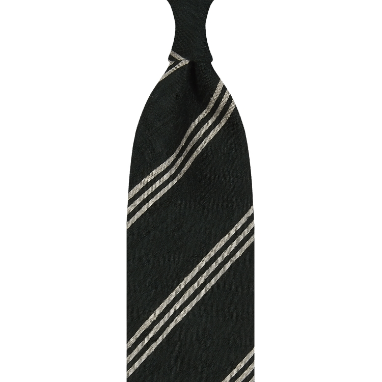 TRIPLE STRIPE SHANTUNG GRENADINE HANDROLLED TIE – FOREST GREEN / BEIGE STRIPE