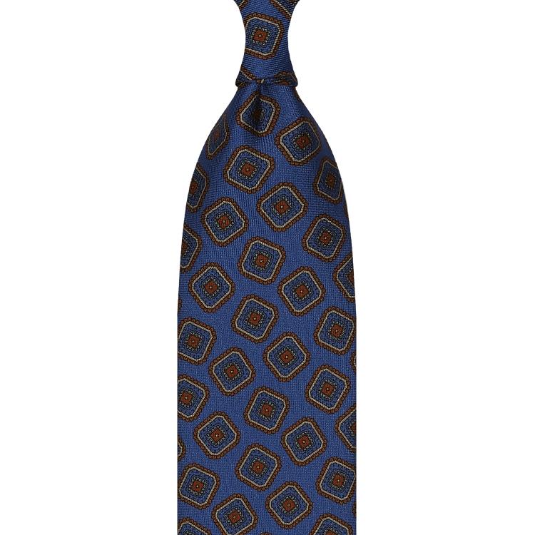 cravate en twill de soie bleu émeraude - motifs diamants imprimés à la main