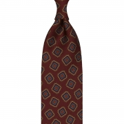 MULTI DIAMOND HANDPRINTED TWILL SILK TIE – RED