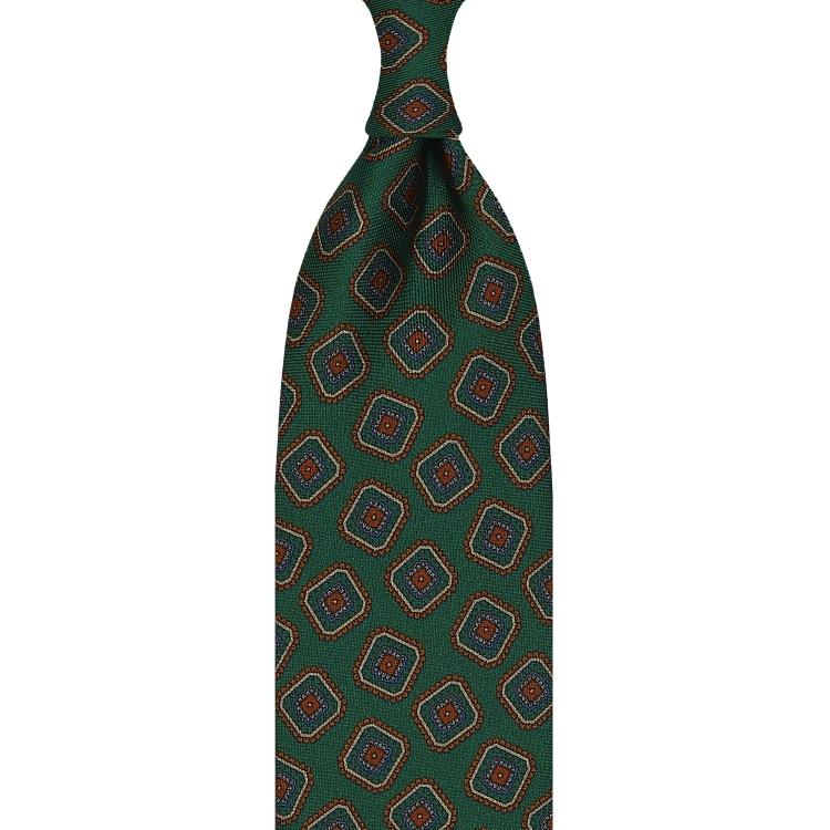 cravate en twill de soie vert forêt - motifs diamants imprimés à la main