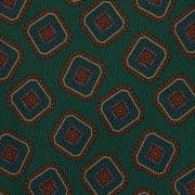MULTI DIAMOND HANDPRINTED TWILL SILK TIE – FOREST GREEN