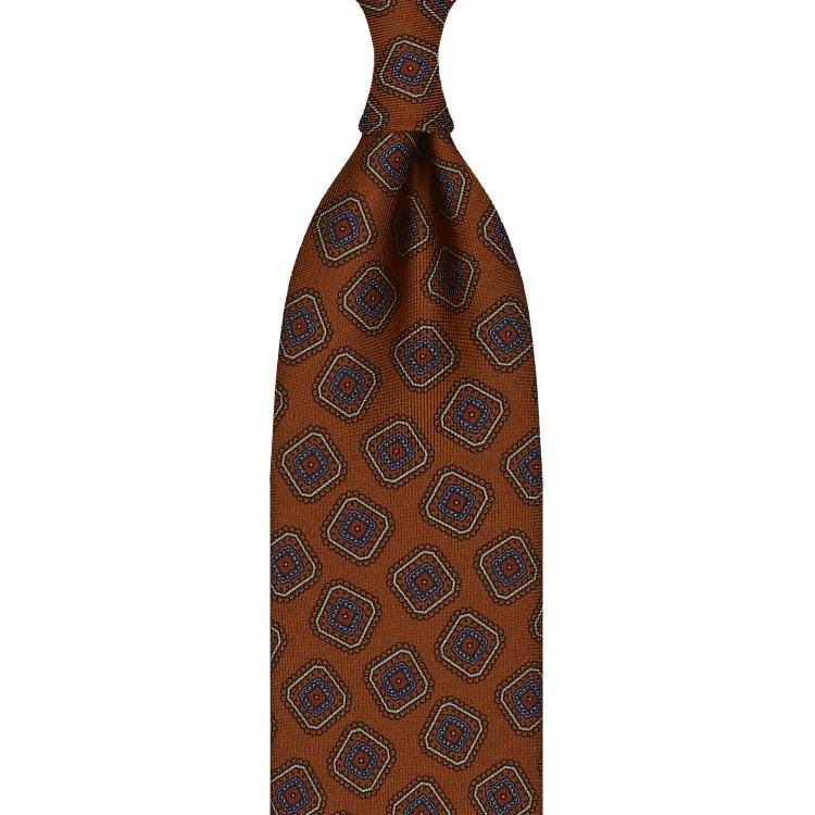 cravate en twill de soie orange brûlé - motifs diamants imprimés à la main