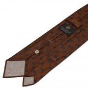 MULTI DIAMOND HANDPRINTED TWILL SILK TIE – BURNT ORANGE