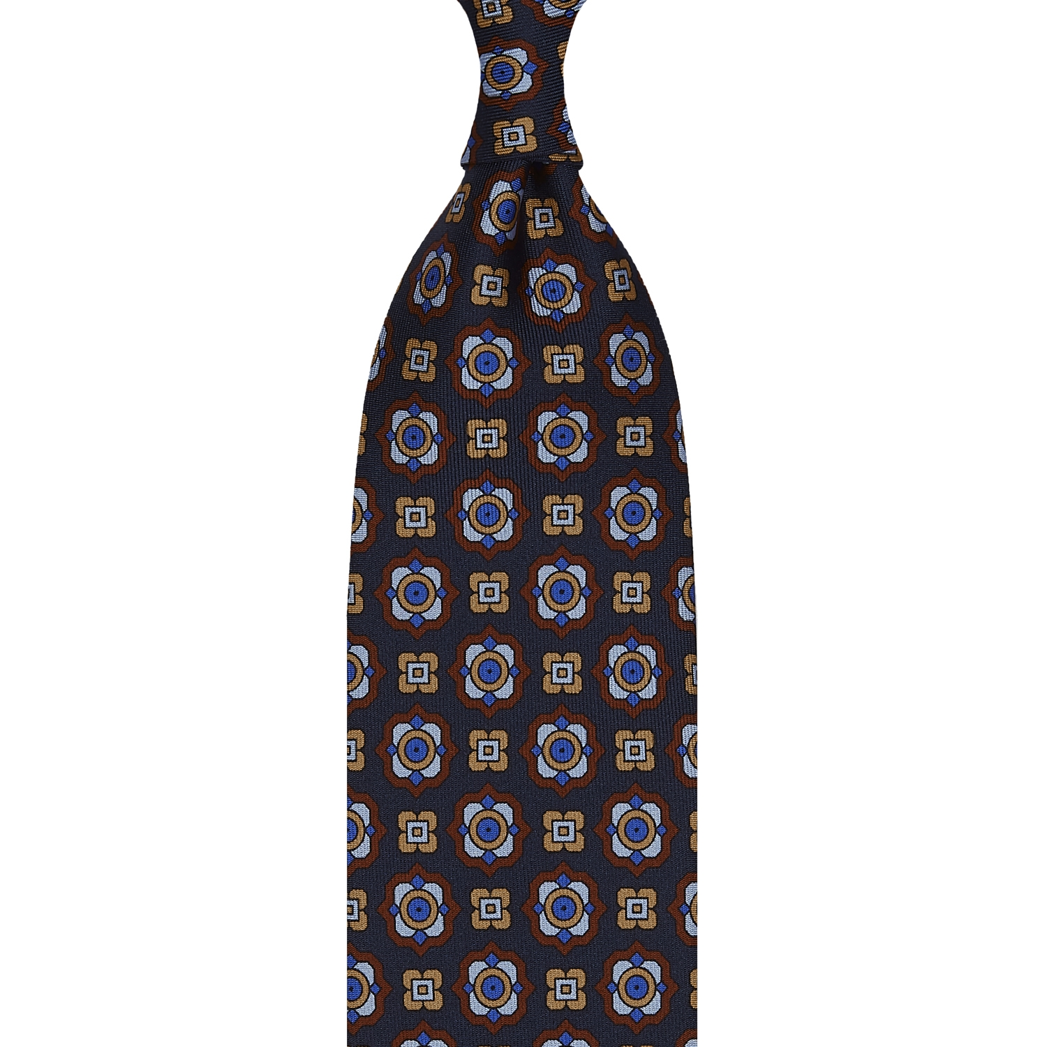FLORAL PATTERN TWILL SILK TIE – NAVY
