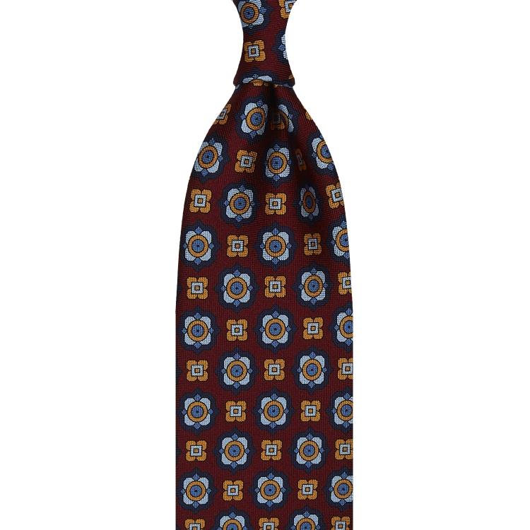 cravate à imprimé floral en twill de soie rouge