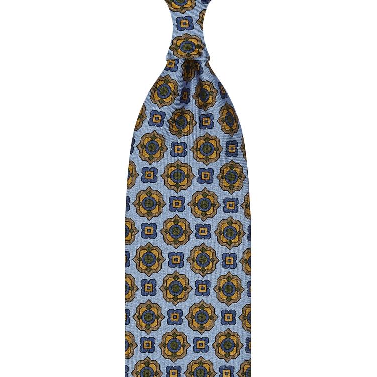 cravate à imprimé floral en twill de soie bleu ciel