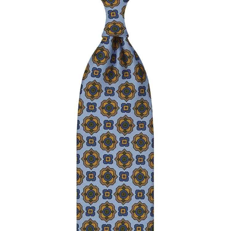 FLORAL PATTERN TWILL SILK TIE – ROYAL BLUE