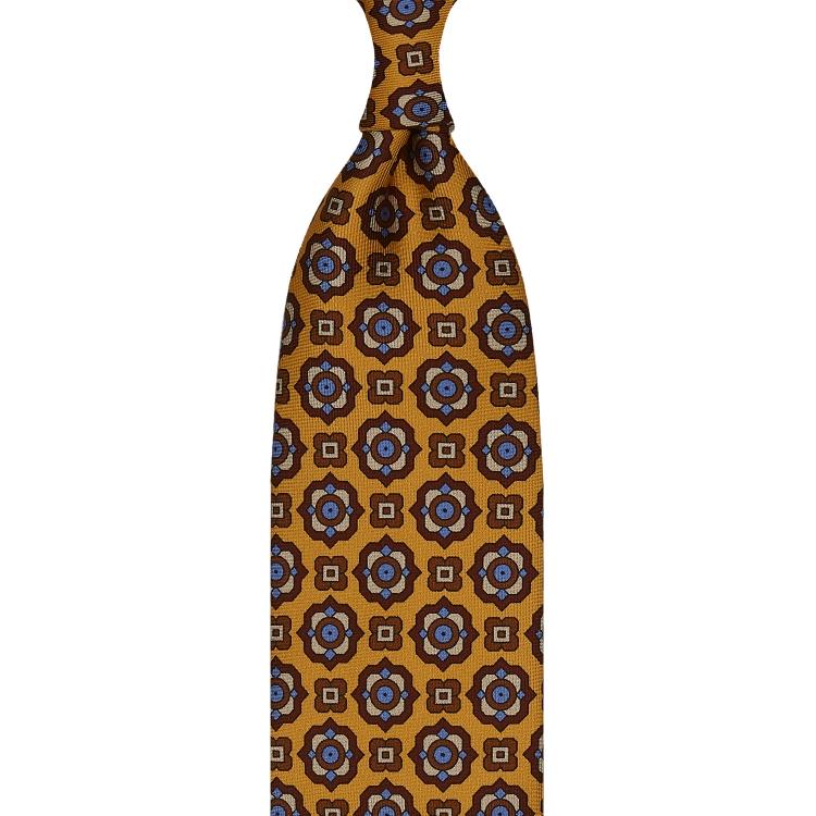 cravate à imprimé floral en twill de soie jaune