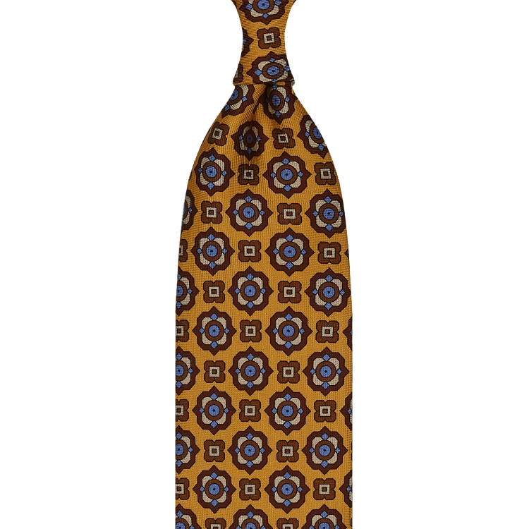 FLORAL PATTERN TWILL SILK TIE – YELLOW