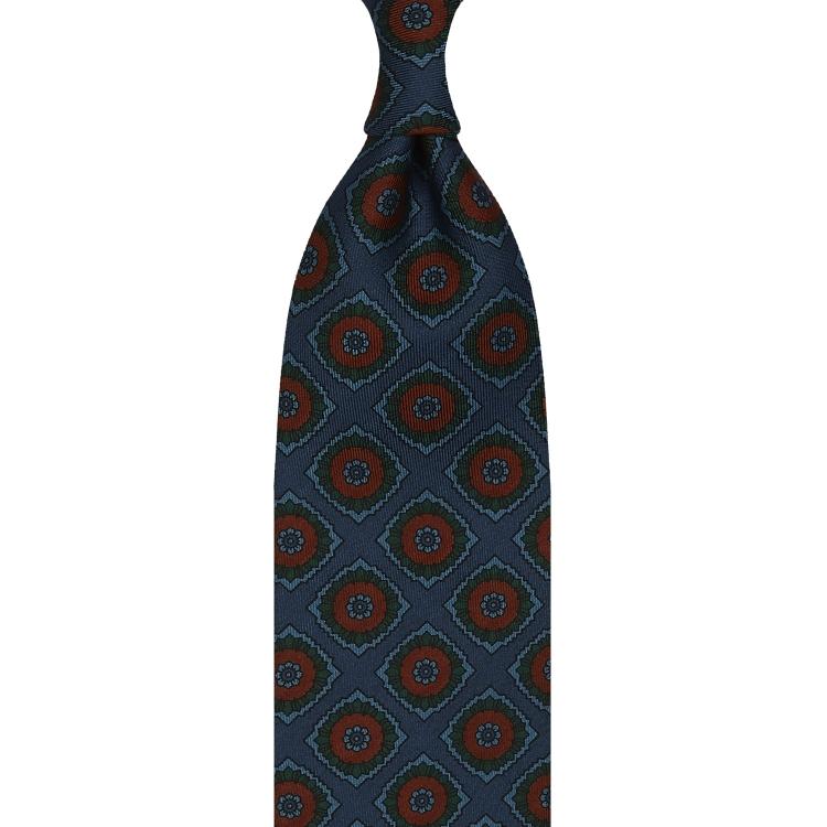 cravate à imprimé mosaïque en twill de soie bleu océan et orange brûlé