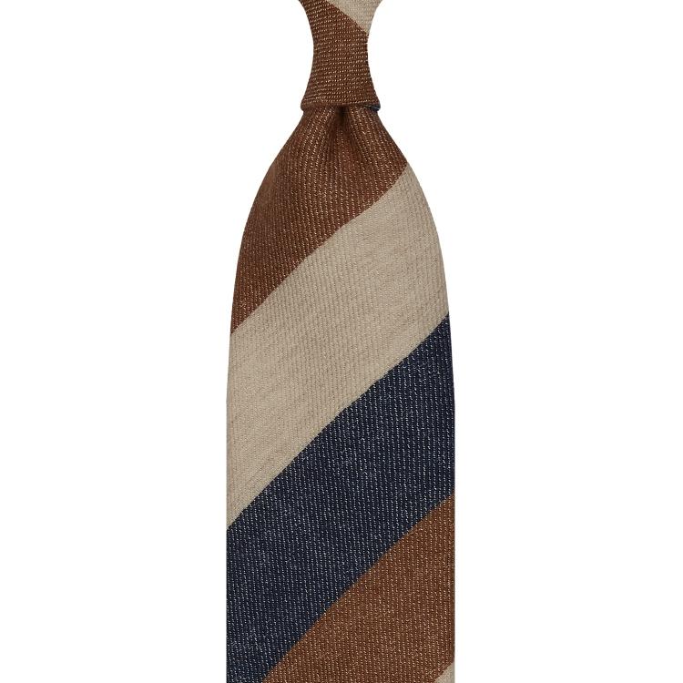 cravate à triple rayures en cachemire – marron fauve / Ivoire /Bleu Denim
