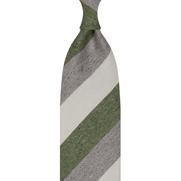 cravate à rayures larges en soie / lin / coton - Ivoire / Vert / Gris