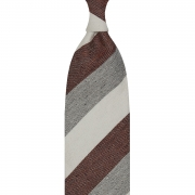 DONEGAL TRIPLE BLOCK STRIPE SILK/LINEN/COTTON – IVORY / BURGUNDY / GREY