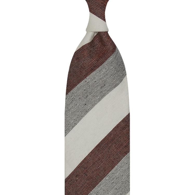 cravate à rayures larges en soie / lin / coton - Ivoire / Bordeaux / Gris