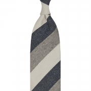 DONEGAL TRIPLE BLOCK STRIPE SILK/LINEN/COTTON – IVORY / DENIM BLUE / GREY