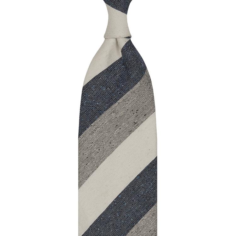 cravate à rayures larges en soie / lin / coton - Ivoire / Bleu Denim / Gris