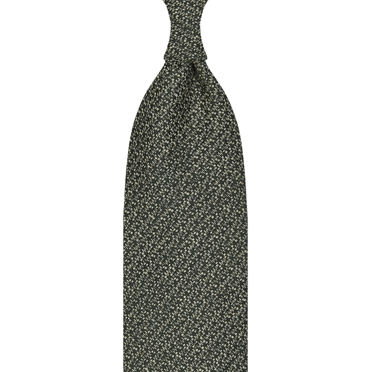 CLASSIC UNTIPPED TUSSAH SILK TIE – GREEN / WHITE SPECKS