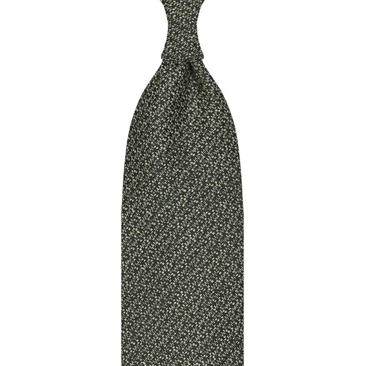 cravate classique non doublée en soie Tussah - vert / blanc moucheté