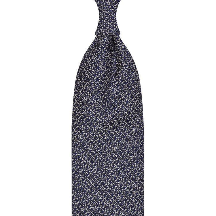 CLASSIC UNTIPPED TUSSAH SILK TIE – NAVY/ WHITE SPECKS