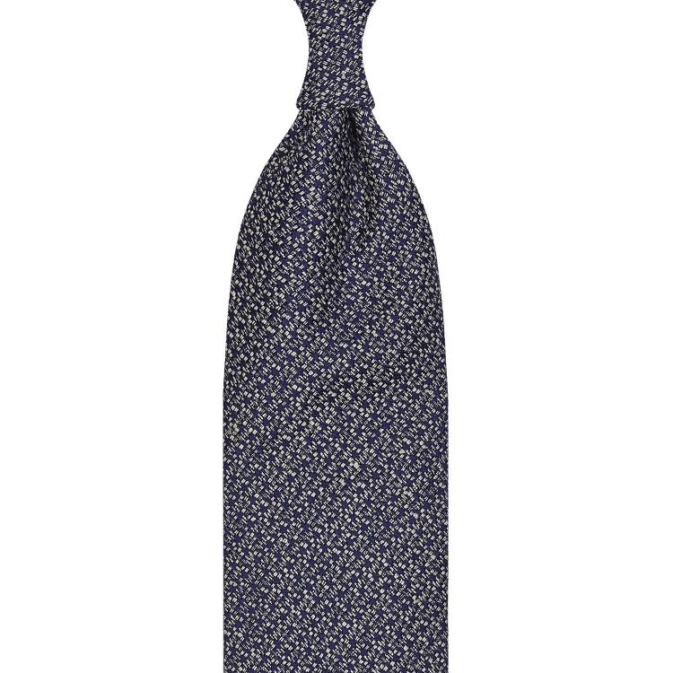 cravate classique non doublée en soie Tussah - bleu marine / blanc moucheté