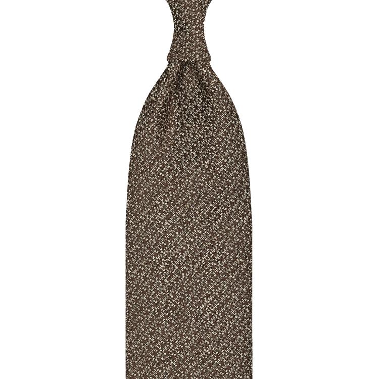 cravate classique non doublée en soie Tussah - marron / blanc moucheté
