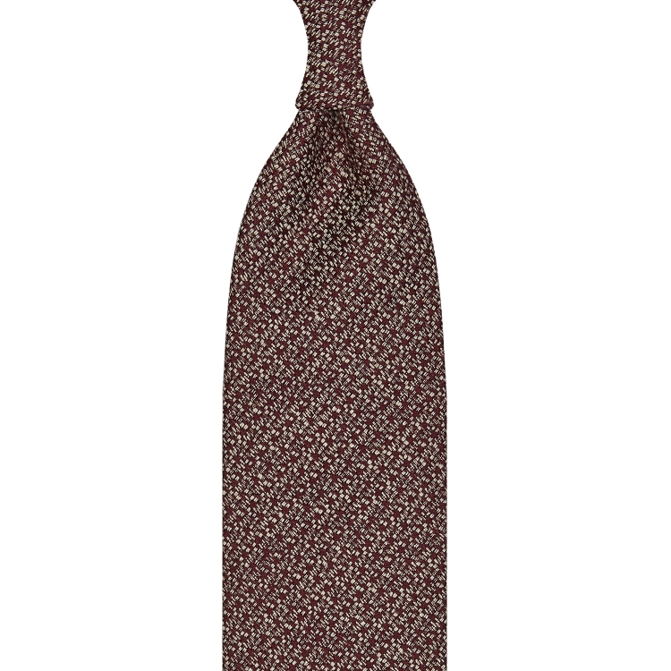 CLASSIC UNTIPPED TUSSAH SILK TIE – BURGUNDY / WHITE SPECKS