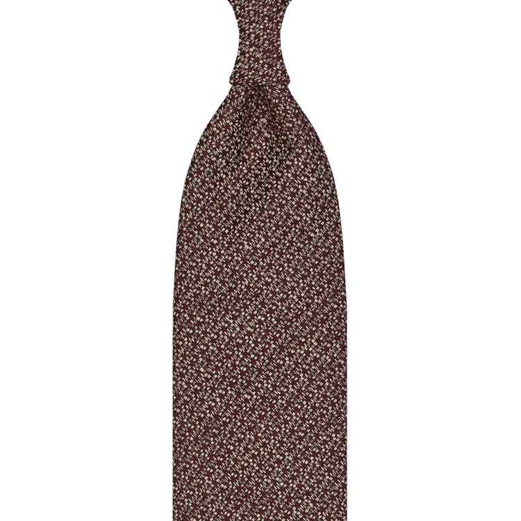 cravate classique non doublée en soie Tussah - bordeaux / blanc moucheté